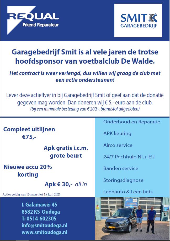 Contract met hoofdsponsor Garagebedrijf Smit verlengd
